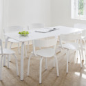 404F Chaise en bois avec dossier large, Thonet blanc laqué