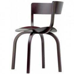 404F Chaise en bois avec dossier large, Thonet marron laqué
