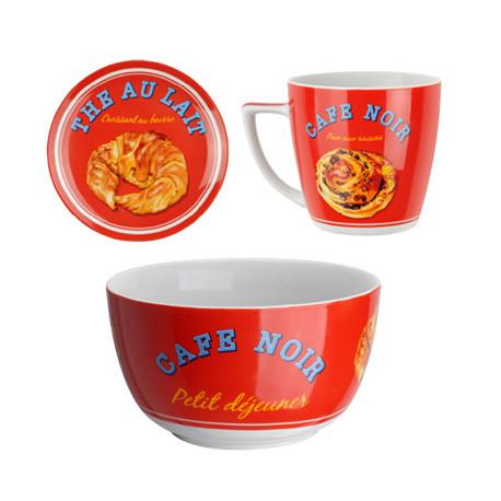 Coffret Bol + Mug + Assiette « croissant », La Chaise Longue rouge