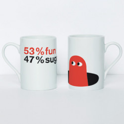 Mug original 53% fun, 47% sugar, par Domestic blanc, rouge, noir