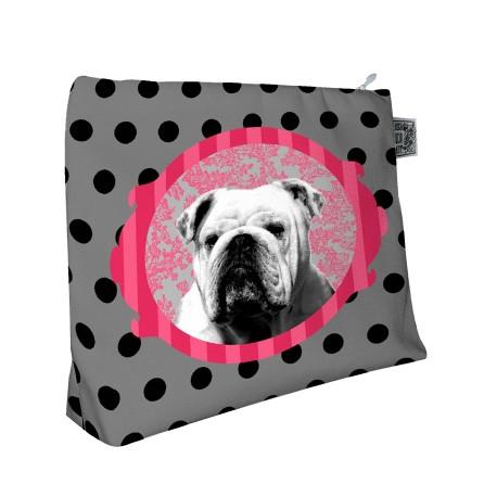 Trousse de voyage bulldog Midinette, Laissez Lucie Faire gris et noir