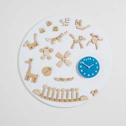 Horloge design Tic, Diamantini & Domeniconi blanc, bleu