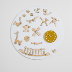 Horloge design Tic, Diamantini & Domeniconi blanc, moutarde