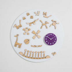 Horloge design Tic, Diamantini & Domeniconi blanc, violet