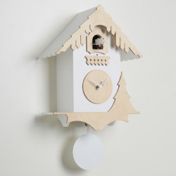 Horloge coucou Chalet, Diamantini & Domeniconi blanc, bois clair