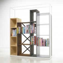 Bibliothèque étagère industrielle Industry, Casamania bois naturel, marron patiné, noir, blanc
