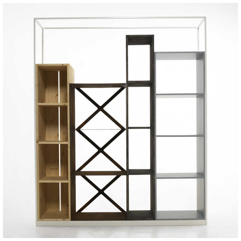 biblioth que tag re industrielle industry casamania bois naturel marron patin noir blanc. Black Bedroom Furniture Sets. Home Design Ideas