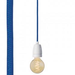 Suspension colorée douille blanche, Nud collection bleu foncé