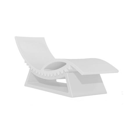 Chaise longue et table basse Tic Tac, Slide Design blanc