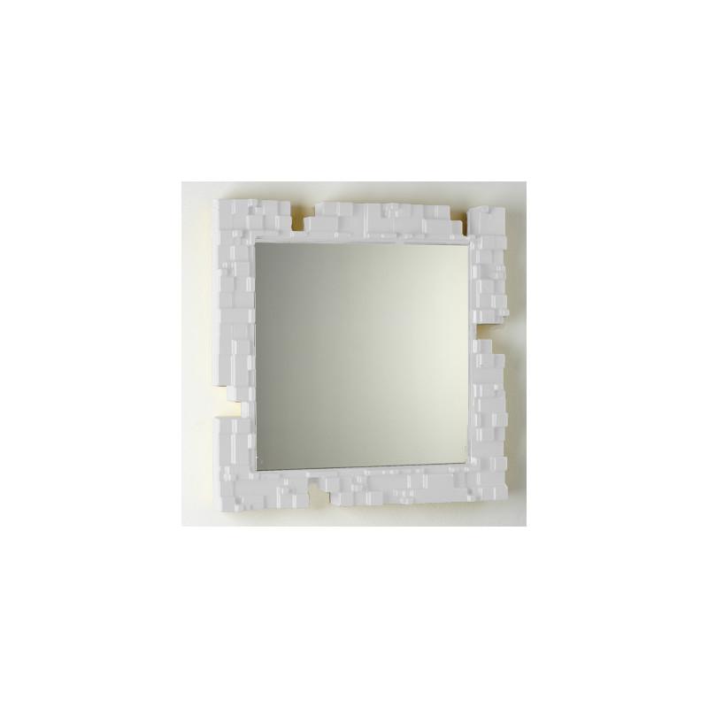 Miroir mural pixel slide design blanc cerise sur la deco for Miroir blanc mural