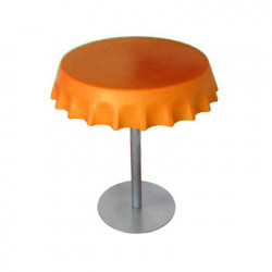 Fizzz, table medium ronde design diamètre 70 cm, Slide Design orange