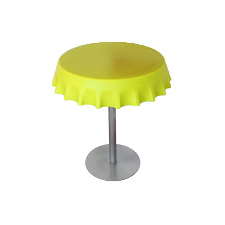 Fizzz, table medium ronde design diamètre 70 cm, Slide Design jaune