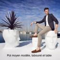 Tabouret Adan ou table d'appoint, Vondom, blanc, 30 x 41 x Hauteur 42 cm