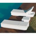 Chaise longue design Vela, Vondom, dossier inclinable, coussin tissu Silvertex blanc