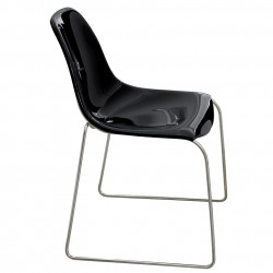 Chaise Day Dream 400, Pedrali noir, pieds chrome
