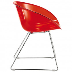 Gliss 921, fauteuil design, Pedrali rouge transparent, pieds chrome