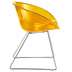Gliss 921, fauteuil design, Pedrali orange transparent, pieds chrome