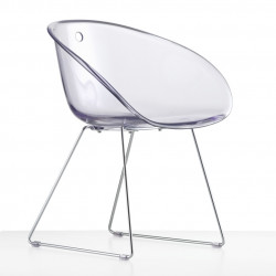 Gliss 921, fauteuil design, Pedrali transparent, pieds chrome