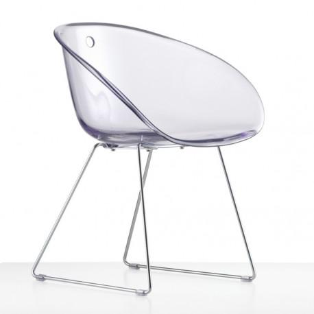 Gliss 921, fauteuil design, Pedrali transparent, pieds chrome
