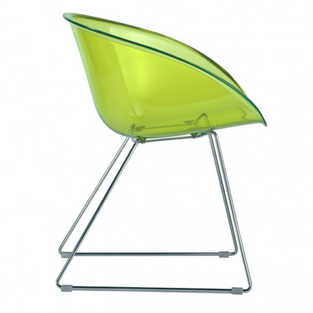 Gliss 921, fauteuil design, Pedrali vert transparent, pieds chrome
