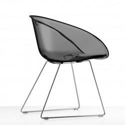 Gliss 921, fauteuil design, Pedrali fumé transparent, pieds chrome
