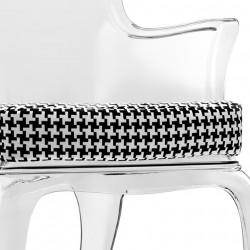 Pasha 660.3, lot de 2 coussins pour fauteuil Pasha 660, Pedrali pied de poule noir et blanc