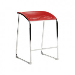 Arod 500 tabouret, Pedrali rouge, pieds chrome