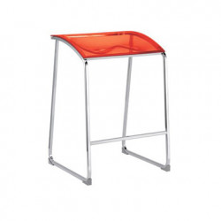 Arod 500 tabouret, Pedrali rouge transparent, pieds chrome