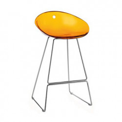 Gliss 902 tabouret sur pieds, Pedrali orange transparent, pieds chrome