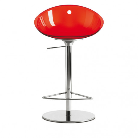 Gliss 970 tabouret haut pivotant, Pedrali rouge transparent, pied chrome