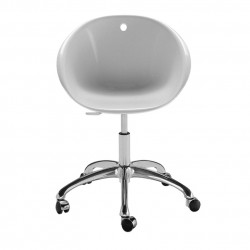 Gliss 960, fauteuil sur roulettes pivotant, Pedrali blanc, pied aluminium poli