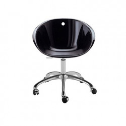 Gliss 961, fauteuil pivotant, Pedrali noir, pied aluminium poli