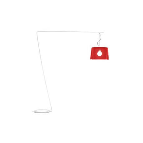 Lampadaire L001T/B, Pedrali rouge transparent / blanc