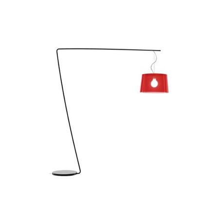 Lampadaire L001T/B, Pedrali rouge transparent / noir