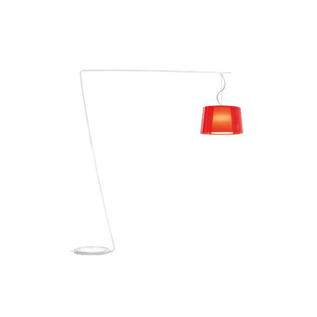 Lampadaire L001T/BA, Pedrali rouge transparent / blanc