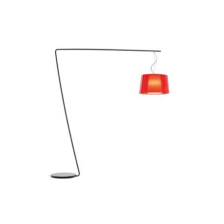 Lampadaire L001T/BA, Pedrali rouge transparent / noir
