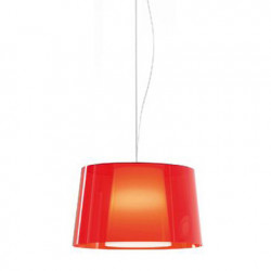 Suspension L001S/BA, Pedrali rouge transparent / blanc