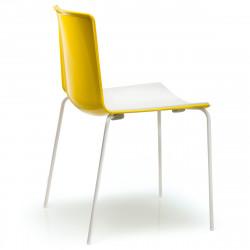 Chaise Tweet 890, Pedrali jaune, blanc Pieds chromés
