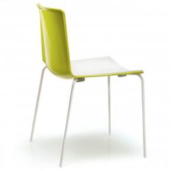 Chaise Tweet 890, Pedrali vert, blanc Pieds chromés