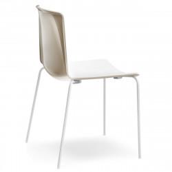 Chaise Tweet 890, Pedrali beige, blanc Pieds chromés