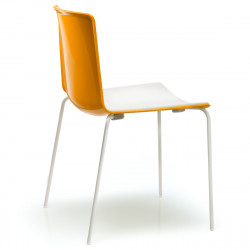 Chaise Tweet 890, Pedrali orange, blanc Pieds chromés