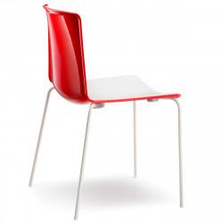 Chaise Tweet 890, Pedrali rouge, blanc Pieds chromés
