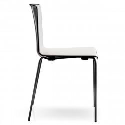 Chaise Tweet 890, Pedrali noir, blanc Pieds vernis