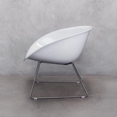 Gliss 340 fauteuil lounge, Pedrali blanc, pieds chrome