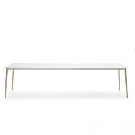 Malmö, grande table, Pedrali blanc, bois clair 190x90cm