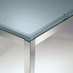 Kuadro table carrée, Pedrali, plateau en verre dépoli, 90x90cm