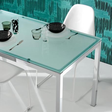 Kuadro table rectangulaire, Pedrali, plateau en verre dépoli 140x80cm