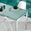 Kuadro table rectangulaire, Pedrali, plateau en verre dépoli 180x90cm