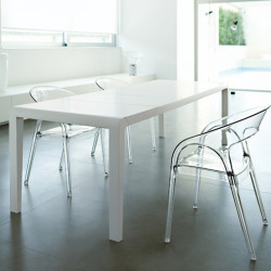 Exteso, table à rallonges, Pedrali hêtre laqué blanc mat L178-278 cm