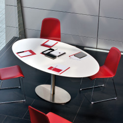 Inox Ellittico, table ovale, Pedrali blanc, pied chrome L180x110 cm